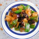 茄子とピーマンと鶏肉の味噌炒め