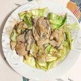 牡蠣とキャベツの炒め物