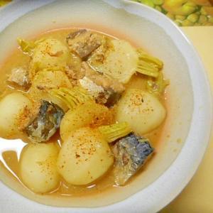 サバ缶の水煮を使い★サバと小かぶの煮物★