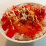 醤油/マヨで 福神漬けと卵黄と金山寺味噌のご飯