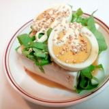 サラダ菜とゆで卵と白ごまの冷奴
