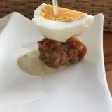茹で卵と唐揚げのピンチョス
