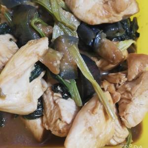 時短!! ナスと小松菜と鶏肉の味噌炒め