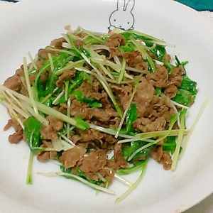 簡単!時短!水菜と切り落とし肉の焼肉のタレ炒め