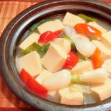 新玉葱と高野豆腐の簡単鍋