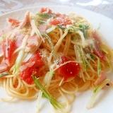 水菜、ベーコン、トマトパスタ