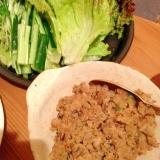 椎茸のおから入り肉味噌 野菜巻き