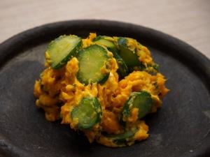 厚切りきゅうりで食感楽しいかぼちゃのサラダ