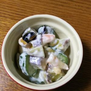 さつまいも&きゅうり&エビ&煎り豆のサラダ