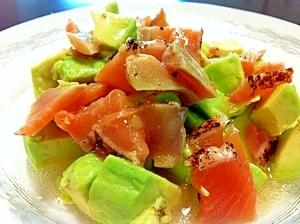 超簡単☆アボカドとサーモンの前菜風サラダ