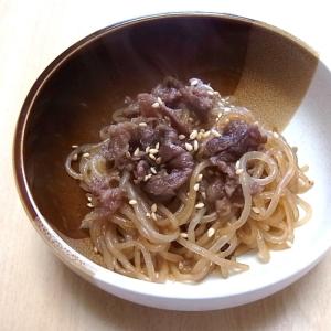 牛肉しぐれ煮としらたきの炒め物