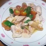 鶏肉とプチトマトのバジル炒め