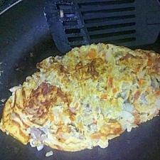 薄切り牛肉で作る、でっかいオムレツ