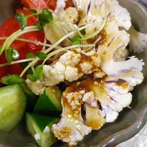 トマトカリフラワーの味噌ダレサラダ