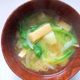 小松菜と油揚げとじゃがいもの味噌汁