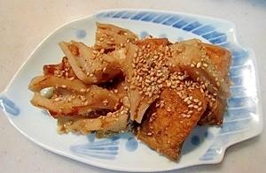 甘辛の弁当のおかず♪ちくわと厚揚げのレンコン炒め
