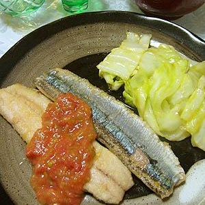 秋刀魚の梅しそソース