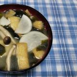 蕪と油揚げとしめじとワカメの味噌汁☆
