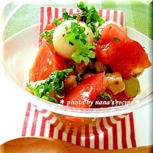 寿司酢で簡単★トマトとモッツアレラ・ビーンズの前菜