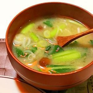 なめこと小松菜とねぎのお味噌汁