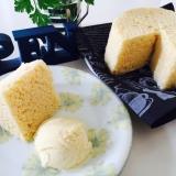 糖質制限☆レンジでチーズケーキ風おから蒸しパン
