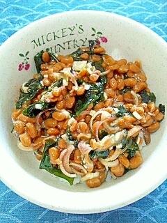 納豆の食べ方-わかめ&ミョウガ♪