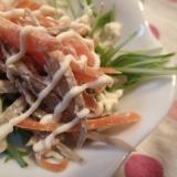 ミズ菜とゴボウのサラダ 簡単ドレッシング