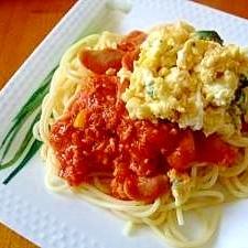 美味しい!チーズオムレツのトマトスパゲティー