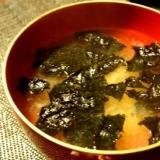 身体もぽかぽか温まる、もみ海苔と葱のお味噌汁