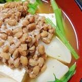 ぽかぽかヘルシー♥キムチ鍋の素で納豆豆腐チゲ風
