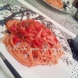 トマト缶で簡単☆トマトクリームパスタ