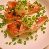 赤魚を日本酒で蒸し煮にして、おろしポン酢で。