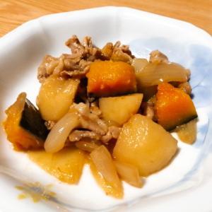 豚肉とじゃがいもとかぼちゃと玉ねぎの煮物