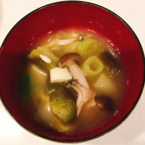ナスとネギ、豆腐、ブナシメジのお味噌汁