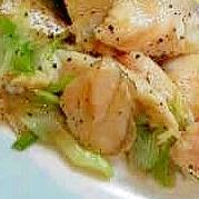 鮭ハラスとネギのにんにく黒コショウ炒め