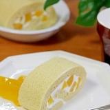 優しい甘さ…♪桃のロールケーキ