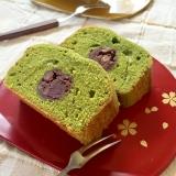 しっとり♡抹茶と粒あんの和風ケーキ