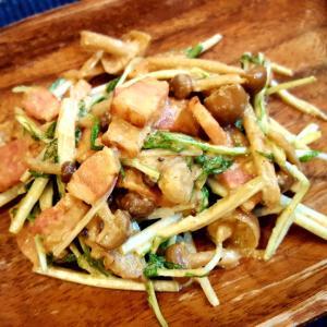 焼き肉のタレで☆水菜とベーコンのサラダ