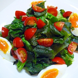 ワカメレタスの温野菜サラダ♪