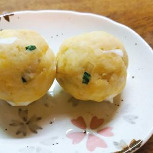 葱とゆで卵の薩摩芋団子