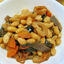 水煮使って、簡単煮豆