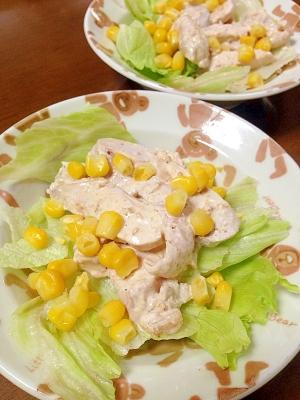 鶏とコーンのごまマヨサラダ