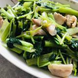 超簡単!豚肉と小松菜と豆苗のとろっとろ中華炒め