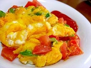 トマトと大葉のスクランブルエッグ