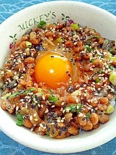 納豆の食べ方-生玉子&やたら漬け♪