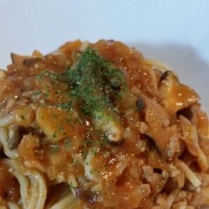 ケチャップで簡単しいたけとトマトのパスタ