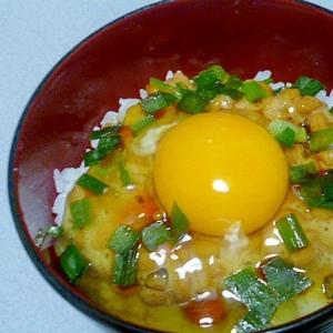 簡単♪ラー油が香る♪ニラと納豆のたまごかけご飯