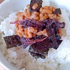 梅しそ、海苔、納豆ごはん