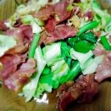 牛タンとキャベツ小松菜の焼肉炒め