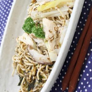 【糖質制限】鶏肉と海苔佃煮のガーリックパスタ